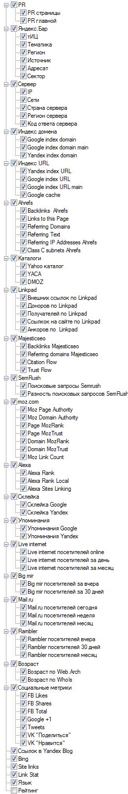 Массовая проверка ТИЦ и PR Netpeak-Checker (список определяемых параметров)
