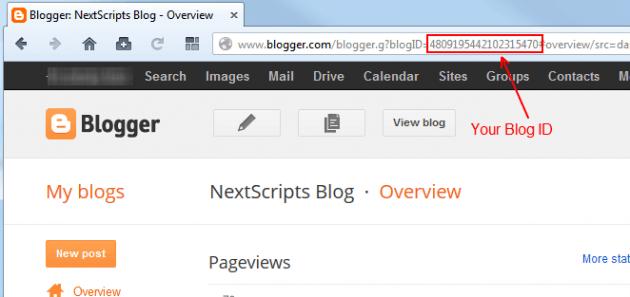 Скопируйте ID вашего блога