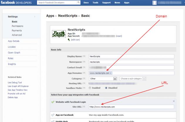 """Выберете """"Website with Facebook Login"""" и введите адрес вашего сайта"""
