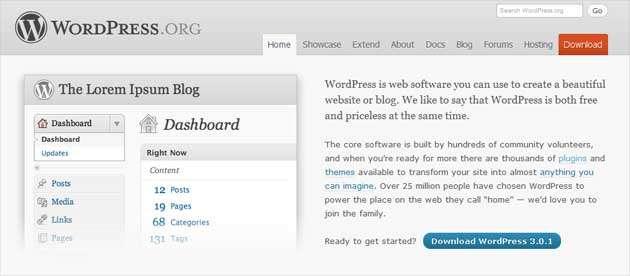 Хороший пример кнопки призыва к действию: «Скачать WordPress»